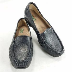 SAS Tripad Comfort Leather Black Pebble Loafers